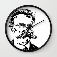 nietzsche Wall Clocks featuring Friedrich Nietzsche by Joshua M. Paschal