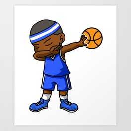 Kids Basketball Boy Dabbing Dab Gift Idea Art Print