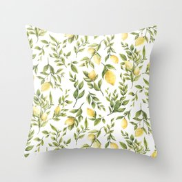 Bright Yellow Watercolor Lemons and Leaves Throw Pillow