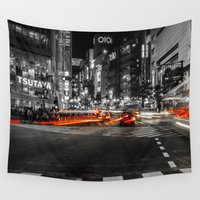 blur Wall Tapestries featuring Shibuya Blur by Michelle McConnell