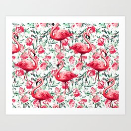 Flowers and Flamingos Art Print