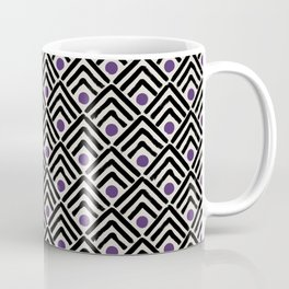 Black & royal purple chevrons & spots Coffee Mug