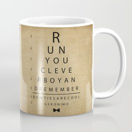 Run You Clever Boy - Doctor Who Inspired Vintage Eye Chart Coffee Mug