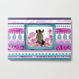 Turquoise Frame - Zebra with Lotos Flowers Metal Print