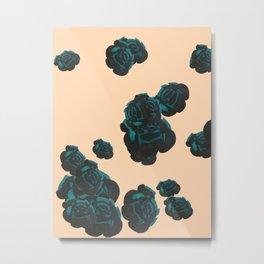 Green and Black Roses on Peach, Greenery Metal Print