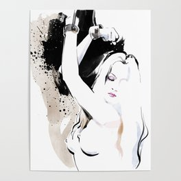 Beauty portrait, Woman slave handcuffs, Nude art, Black and white, Fashion painting Poster