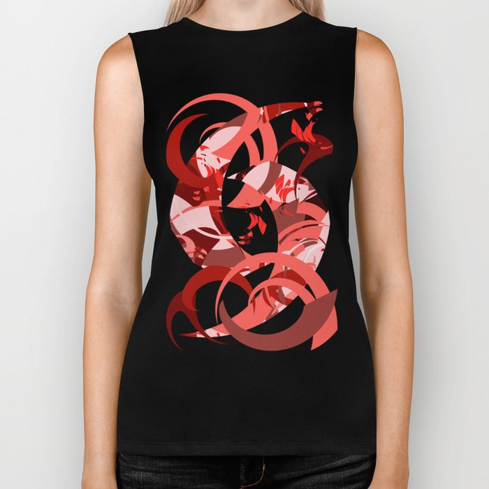 Abstract Curls - Burgundy, Coral, Pink Biker Tank