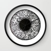 iris Wall Clocks featuring Iris by ECMazur