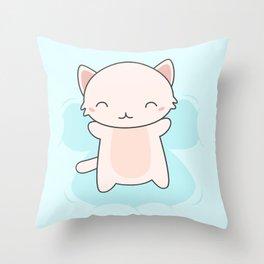 Kawaii Cute Snow Angel Cat Throw Pillow