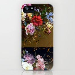 Golden age bohemian floral landscape iPhone Case