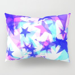 Large frosty blue stars on a light background in the projection. Pillow Sham