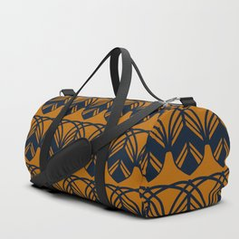 GATHER dark navy and mustard gold feather pattern Duffle Bag