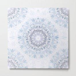 Blue Purple Floral Mandala Metal Print