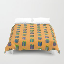 Presents pattern orange Duvet Cover