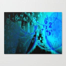 Blue Digital Numbers Canvas Print