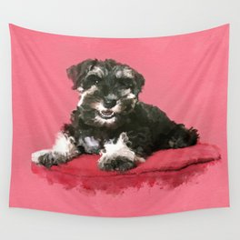 Miniature Schnauzer Puppy Watercolor Digital Art Wall Tapestry