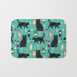 Black cat wine champagne cocktails cat breeds cat lover pattern art print Bath Mat