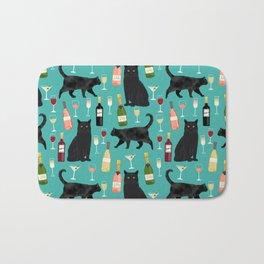 Black cat wine champagne cocktails cat breeds cat lover pattern art print Bath Mat
