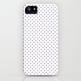 Modern geometric violet lavender white polka dots pattern iPhone Case