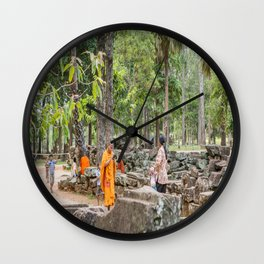 A Monk With an iPad at Bayon Temple, Angkor Thom, Cambodia Wall Clock