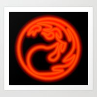 magic the gathering Art Prints featuring Magic the Gathering, Neon Red Mana by Thorn Blackstar