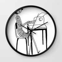 typewriter Wall Clocks featuring Typewriter by flapper doodle