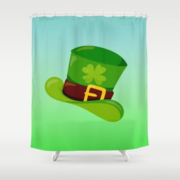 St. Patrick's Day: Leprechaun Hat With Lucky Shamrock Shower Curtain