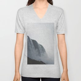 From below where all the water falls, Niagara 01 Unisex V-Neck