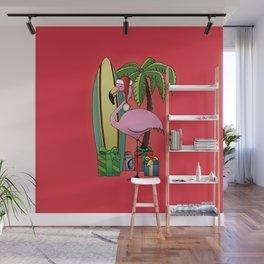 Xmas Flamingo Wall Mural
