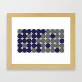 Dots bricks in deep blue and gray Framed Art Print