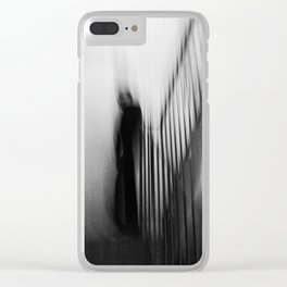 Man in stairwell, abstract Clear iPhone Case
