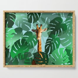 Giraffe in jungle with monstera leaves #leaves Serving Tray