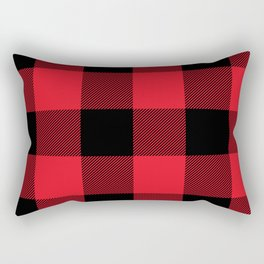 Big Red and Black Buffalo Plaid Rectangular Pillow
