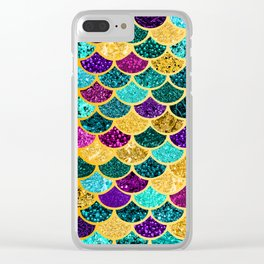 Glitter Purple, Aqua and Gold Mermaid Scales Pattern Clear iPhone Case