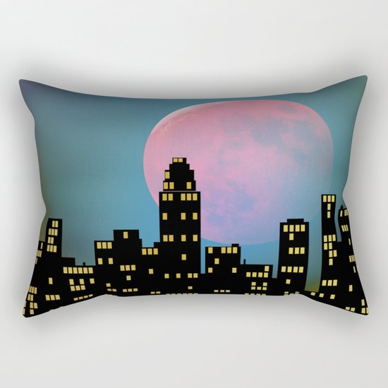 Super Moon over the City Rectangular Pillow
