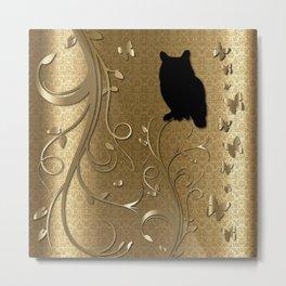 Silhouette Owl in a Golden Kingdom Metal Print
