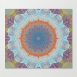 White Frosted Flower Pattern Canvas Print