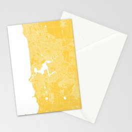 Perth map yellow Stationery Cards