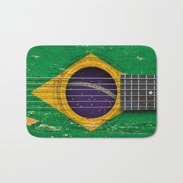 Old Vintage Acoustic Guitar with Brazilian Flag Bath Mat