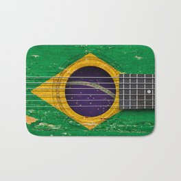 Old Vintage Acoustic Guitar with Brazilian Flag Bath Mat