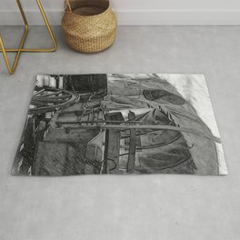 Black And White Sketched Covered wagon Rug