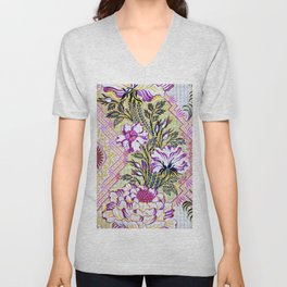 Painted Antique French Pattern Recolored Unisex V-Neck
