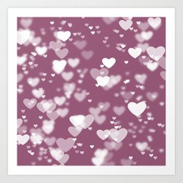 Pink and White Bokeh Hearts Abstract Art Print