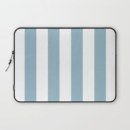 Large Baby Blue and White Vertical Cabana Tent Stripes Laptop Sleeve