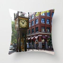 Gastown Steam Clock - Vancouver Throw Pillow