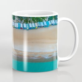 Iconic beach huts on a beach in Australia aerial landscape Coffee Mug