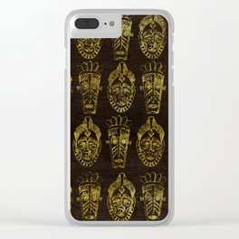 Golden African Masks on Wood Clear iPhone Case