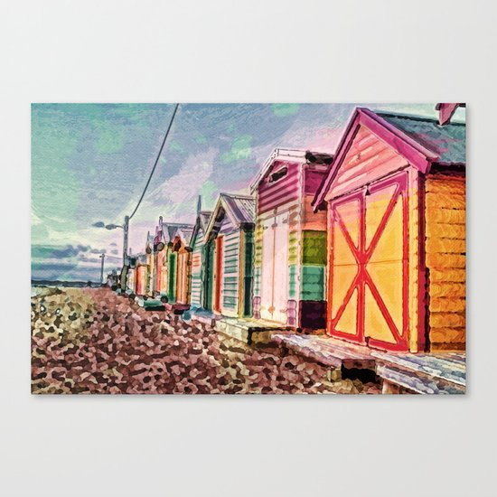 Painted Beach Huts Canvas Print