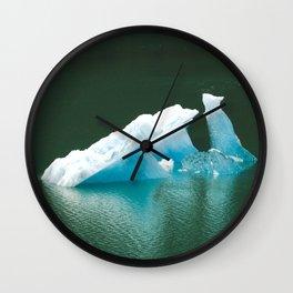 Blue Ice Swan Floating in Alaskan Waters Wall Clock