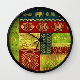 Ethnic African Golden Pattern on color Wall Clock